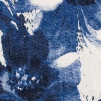 リネン×フラワー(ブルー)×薄キャンバス_イタリア製 サムネイル1