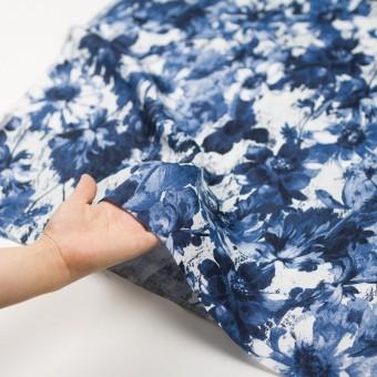 リネン×フラワー(ブルー)×薄キャンバス_イタリア製 サムネイル5