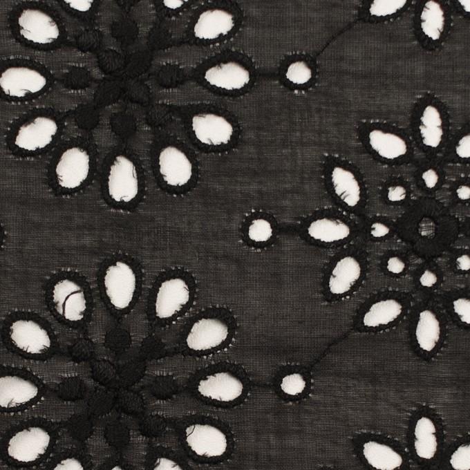 コットン×フラワー(ブラック)×ボイル刺繍_全2色 イメージ1