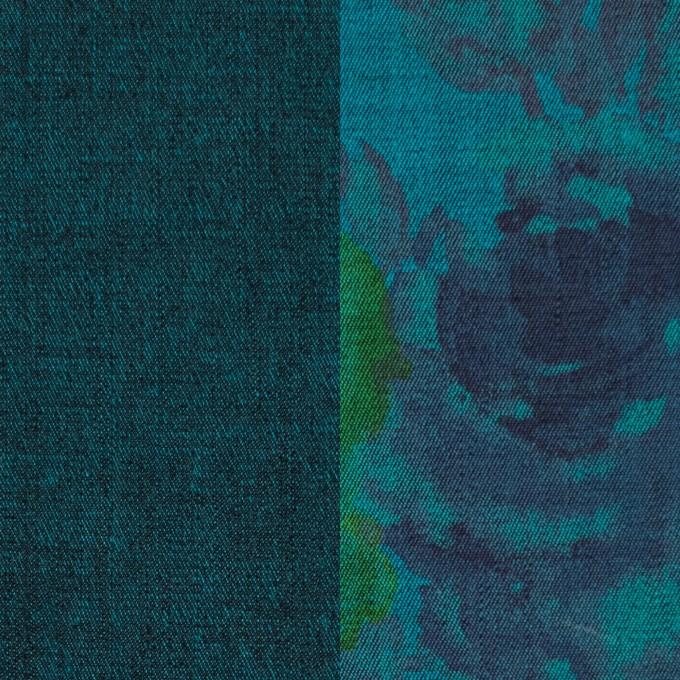 コットン&ポリエステル混×無地&フラワー(ターコイズ)×デニムストレッチ_バックプリント_全4色 イメージ1