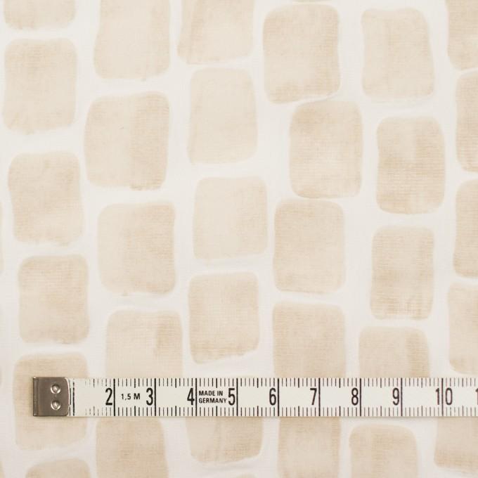 コットン×幾何学模様(ベージュ)×ボイル_塩縮加工 イメージ4