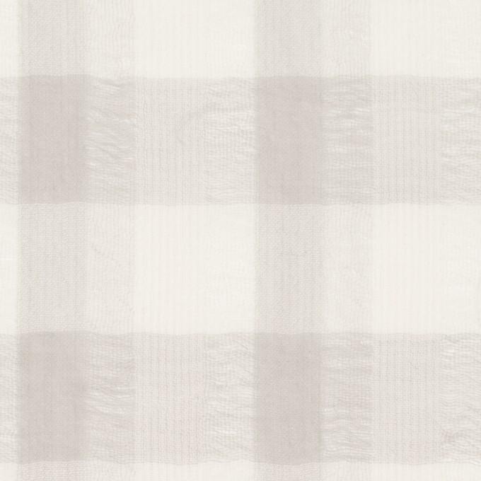 ポリエステル&コットン×チェック(アイボリー&ライトグレー)×空羽ボイル_全3色 イメージ1