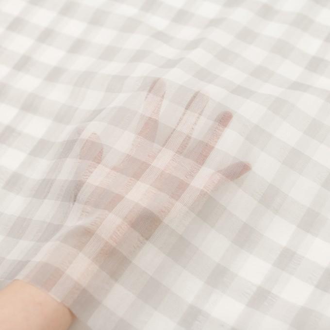 ポリエステル&コットン×チェック(アイボリー&ライトグレー)×空羽ボイル_全3色 イメージ5