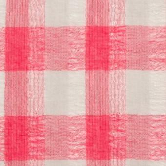 ポリエステル&コットン×チェック(チェリーピンク&ライトグレー)×空羽ボイル_全3色 サムネイル1
