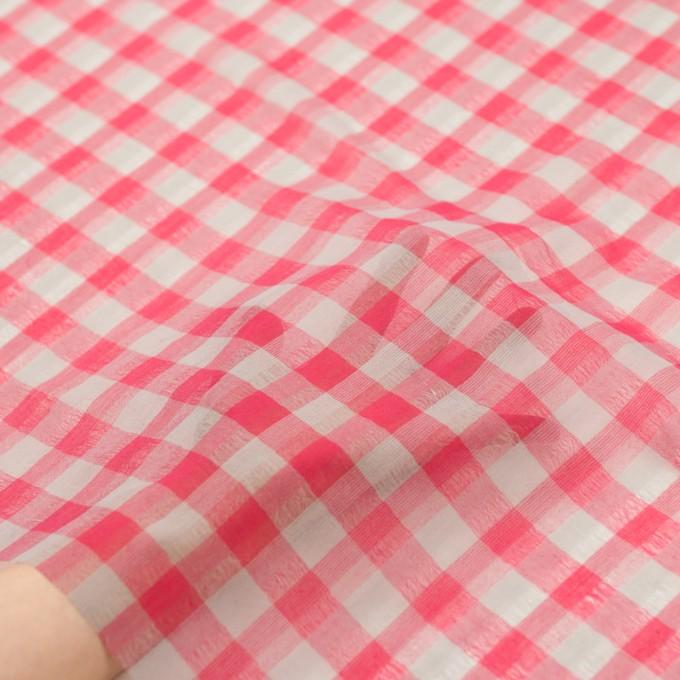ポリエステル&コットン×チェック(チェリーピンク&ライトグレー)×空羽ボイル_全3色 イメージ5