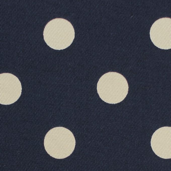コットン&ポリウレタン×水玉(ダークネイビー&アイボリー)×チノクロス・ストレッチ イメージ1