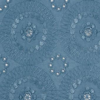 コットン×フラワー(スモークブルー)×ローン刺繍_全6色 サムネイル1