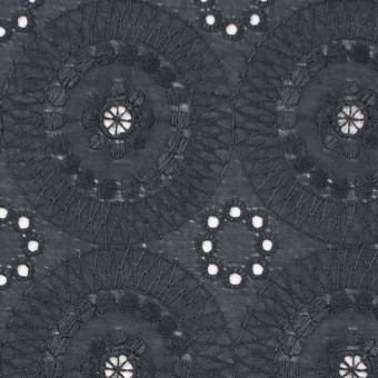 コットン×フラワー(チャコール)×ローン刺繍_全6色 サムネイル1
