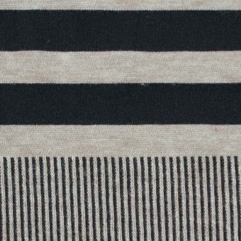 モダール&ポリエステル混×ボーダー&ストライプ(ミントグレー&ブラック)×天竺&リブニット サムネイル1
