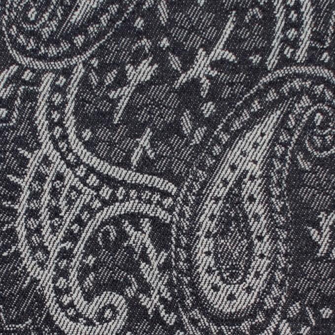 コットン&ポリウレタン×ペイズリー(インディゴ)×デニムジャガードストレッチ イメージ1