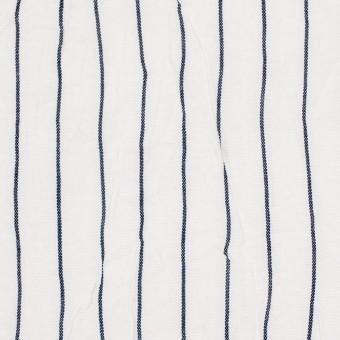 コットン&ポリエステル×ストライプ(オフホワイト&ネイビー)×ブロードワッシャー_全2色 サムネイル1