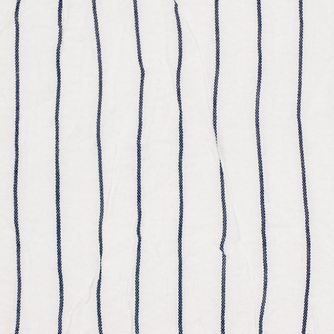コットン&ポリエステル×ストライプ(オフホワイト&ネイビー)×ブロードワッシャー_全2色 イメージ1