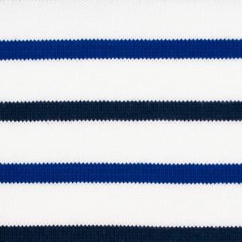 コットン×ボーダー(ダークネイビー&ブルー)×天竺ニット_全2色_パネル