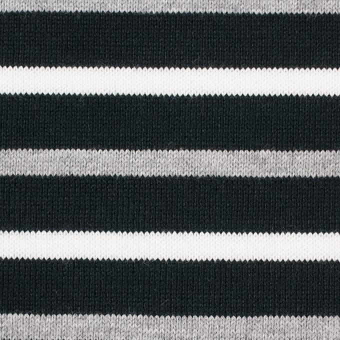 コットン×ボーダー(ホワイト&グレー)×天竺ニット_全2色_パネル イメージ1