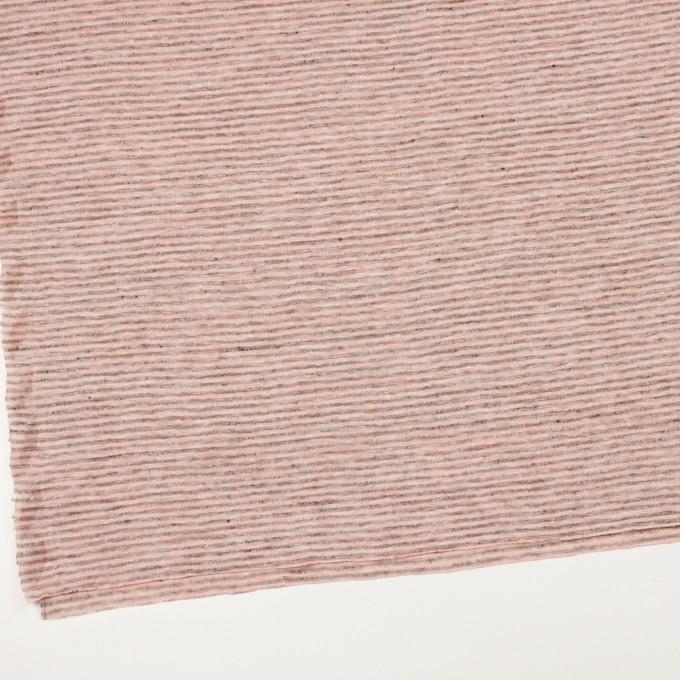 リネン×ボーダー(サーモンピンク&杢グレー)×天竺ニット_全2色 イメージ2