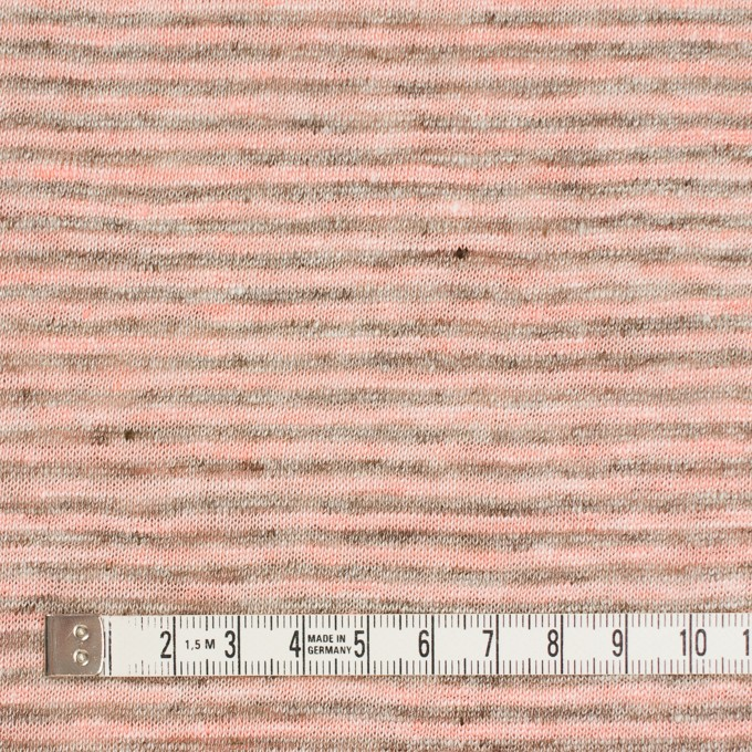 リネン×ボーダー(サーモンピンク&杢グレー)×天竺ニット_全2色 イメージ4