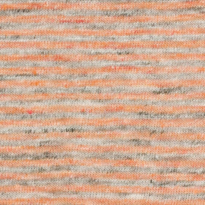 リネン×ボーダー(オレンジ&杢グレー)×天竺ニット_全2色 イメージ1