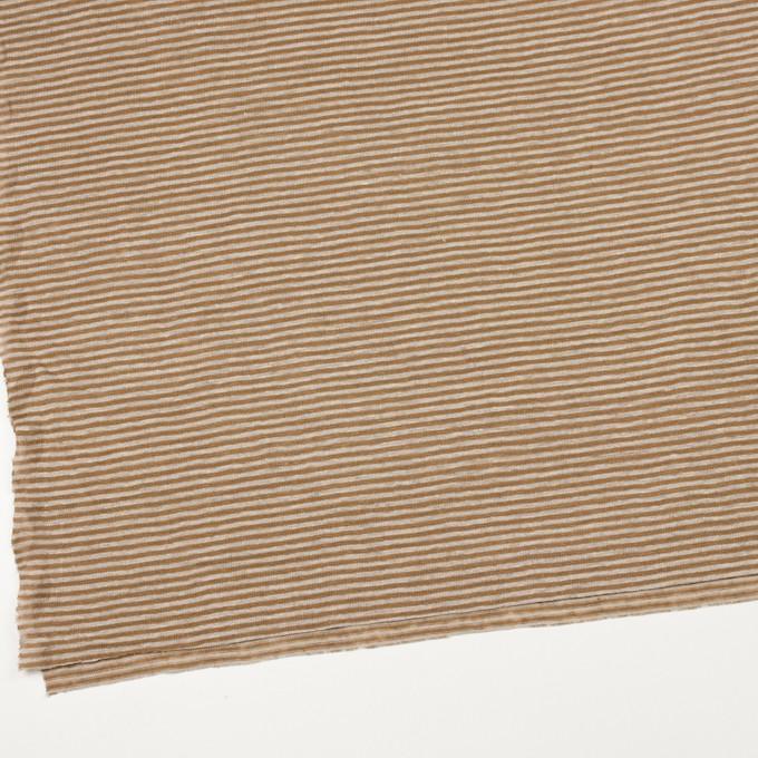 リネン×ボーダー(モカブラウン&グレイッシュベージュ)×天竺ニット イメージ2