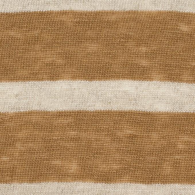 リネン×ボーダー(モカブラウン&グレイッシュベージュ)×天竺ニット イメージ1