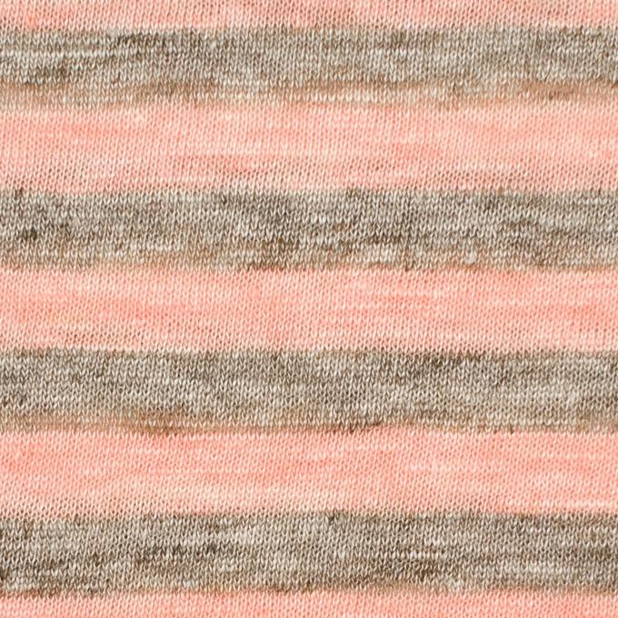 リネン×ボーダー(サーモンピンク&杢グレー)×天竺ニット イメージ1