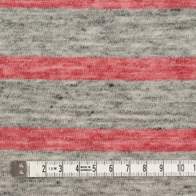 リネン×ボーダー(ストロベリーレッド&杢グレー)×天竺ニット イメージ4