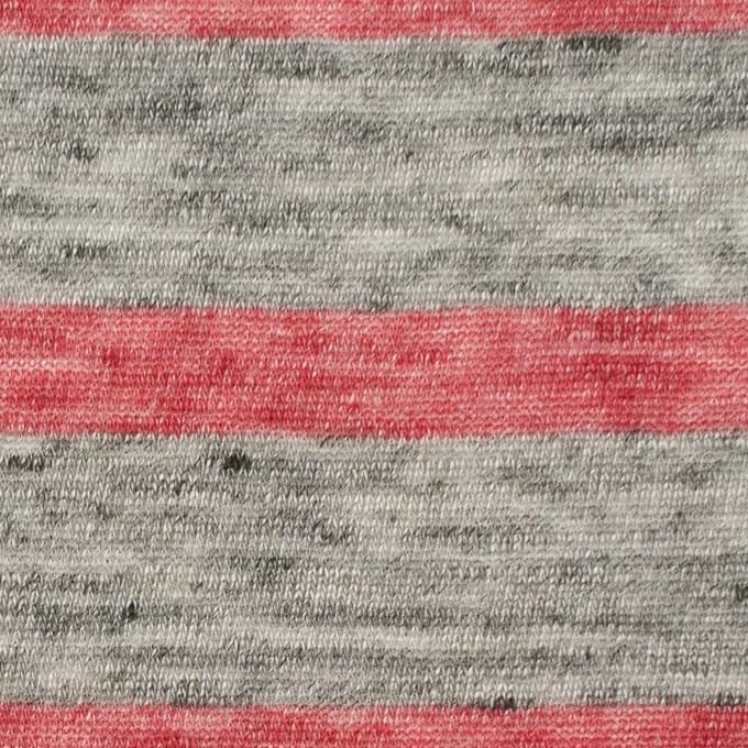 リネン×ボーダー(ストロベリーレッド&杢グレー)×天竺ニット イメージ1