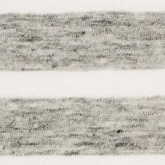 リネン×ボーダー(オフホワイト&杢グレー)×天竺ニット