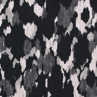 コットン&ポリウレタン×幾何学模様(ブラック)×チノクロス・ストレッチ_全2色 サムネイル1