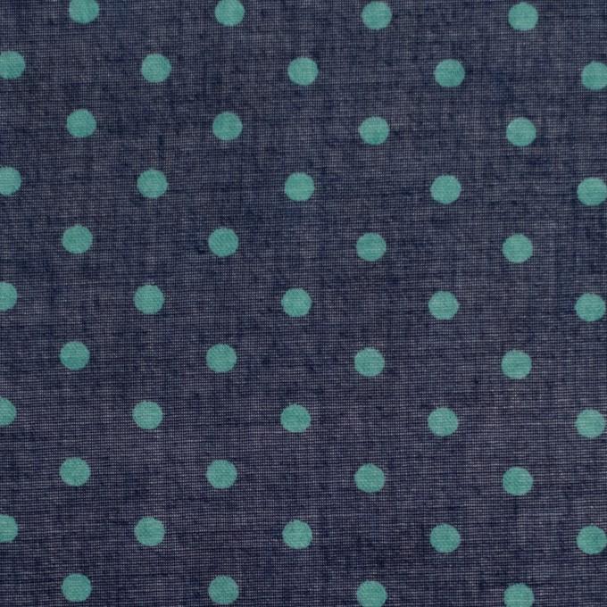 コットン×ドット(ネイビー&サーフグリーン)×ボイル_全2色 イメージ1