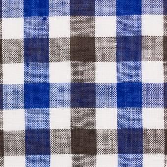 リネン×チェック(ブルー&ブラウン)×薄キャンバス サムネイル1