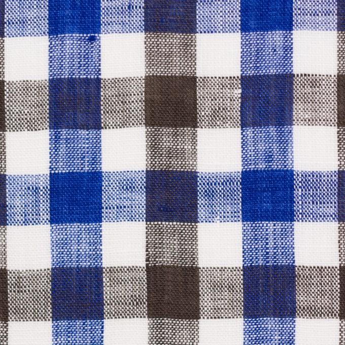 リネン×チェック(ブルー&ブラウン)×薄キャンバス イメージ1