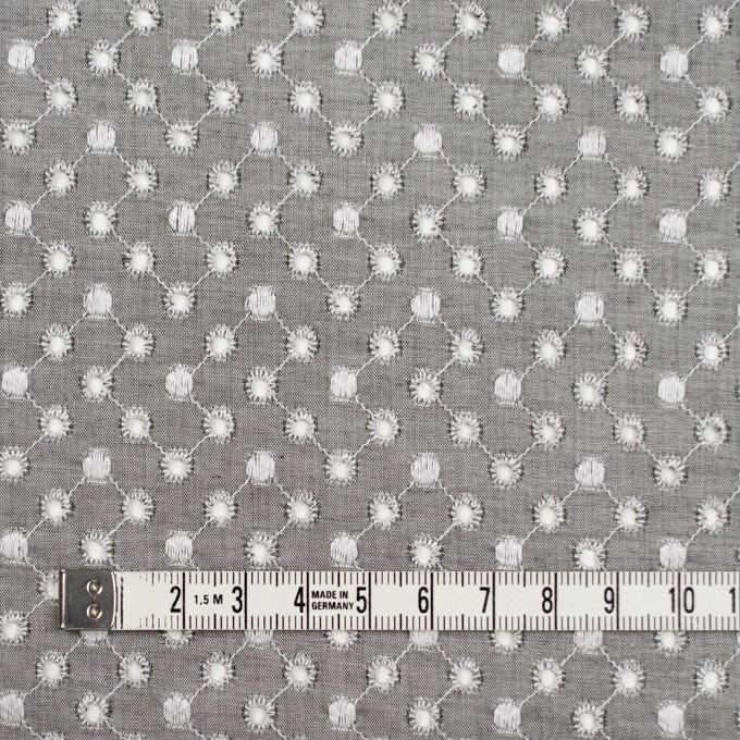 コットン×ドット(グレー)×シャンブレー刺繍 イメージ4