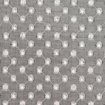 コットン×ドット(グレー)×シャンブレー刺繍 サムネイル1