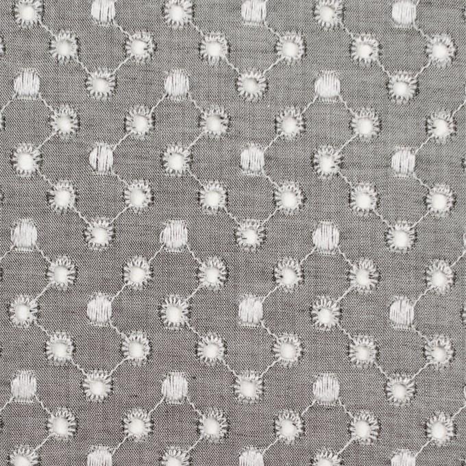 コットン×ドット(グレー)×シャンブレー刺繍 イメージ1