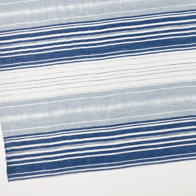 コットン&ナイロン混×ボーダー(ブルーミックス)×オーガンジーワッシャー イメージ2