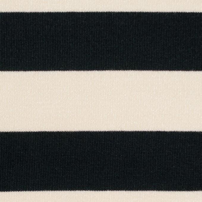 コットン&モダール×ボーダー(アイボリー&ブラック)×天竺ニット イメージ1