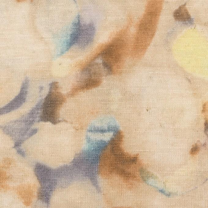 レーヨン&リネン×幾何学模様(ベージュ)×天竺ニット イメージ1