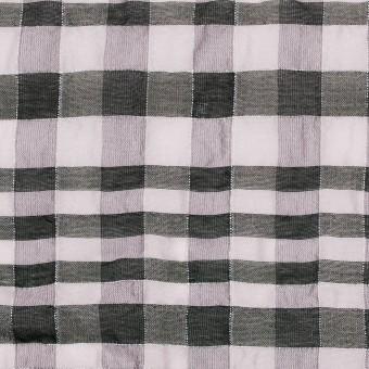 シルク&ナイロン混×チェック(パープルグレー&ブラック)×オーガンジー