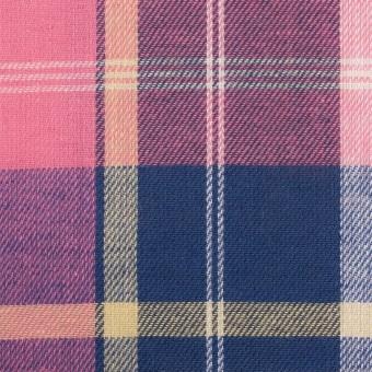 コットン&リネン×チェック(ピンク&グレープ)×薄サージ