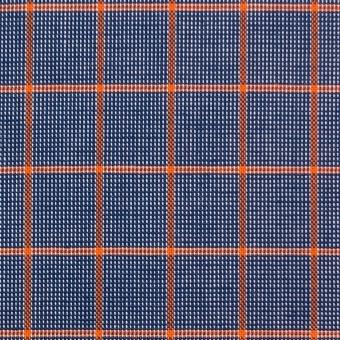 コットン×チェック(オレンジ&ネイビー)×斜子織_全2色