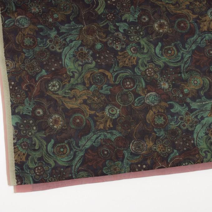 コットン&シルク×幾何学模様(ピーコックグリーン)×サテン_全2色 イメージ2