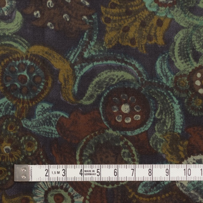 コットン&シルク×幾何学模様(ピーコックグリーン)×サテン_全2色 イメージ4