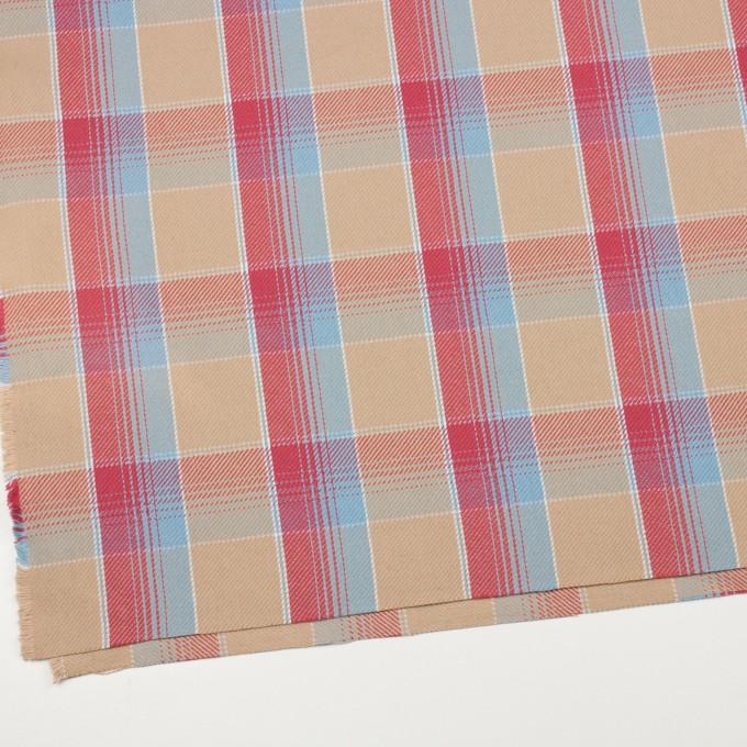 コットン×チェック(ベージュ&スカーレット、サックス)×ビエラ_全3色 イメージ2