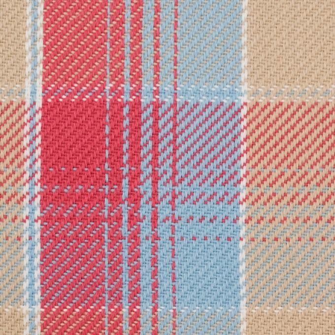 コットン×チェック(ベージュ&スカーレット、サックス)×ビエラ_全3色 イメージ1