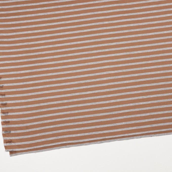 コットン&モダール×ボーダー(テラコッタ&グレー)×天竺ニット_全3色 イメージ2