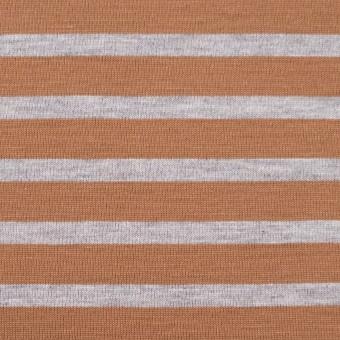 コットン&モダール×ボーダー(テラコッタ&グレー)×天竺ニット_全3色