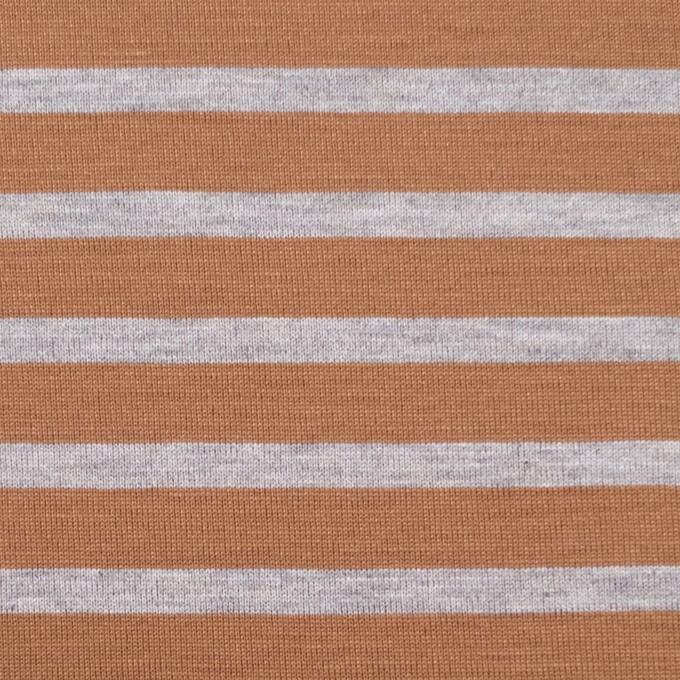 コットン&モダール×ボーダー(テラコッタ&グレー)×天竺ニット_全3色 イメージ1