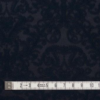 コットン&ポリエステル×幾何学模様(ブルーブラック)×サテンジャガード サムネイル4