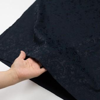 コットン&ポリエステル×幾何学模様(ブルーブラック)×サテンジャガード サムネイル5