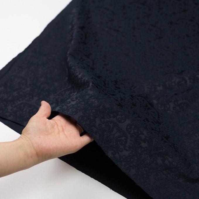 コットン&ポリエステル×幾何学模様(ブルーブラック)×サテンジャガード イメージ5